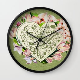 Vintage style Music Notes flowers on green leather Wall Clock