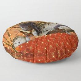 Steampunk, wonderful wild, red  steampunk horse Floor Pillow