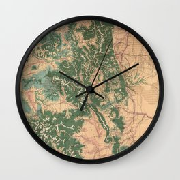 Vintage Colorado Natural Resources Map (1877) Wall Clock
