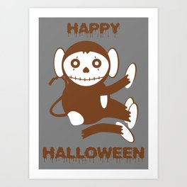 Dead Monkey Happy Halloween Art Print