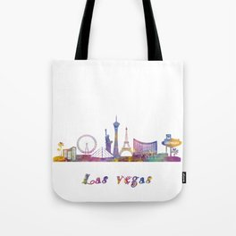 Las vegas landmarks in watercolor Tote Bag