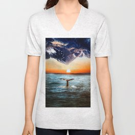 A whale and a morning Unisex V-Neck