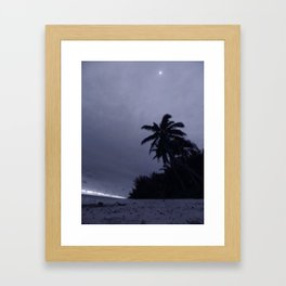 Night time beach stroll - B/W Framed Art Print