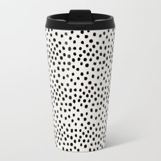 Preppy brushstroke free polka dots black and white spots dots dalmation animal spots design minimal Travel Mug