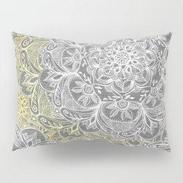 Yellow & White Mandalas on Grey Pillow Sham