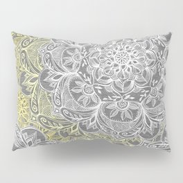 Yellow & White Mandalas on Grey Pillow Sham