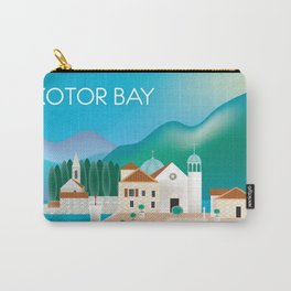Kotor Bay, Montenegro - Skyline Illustration by Loose Petals Carry-All Pouch