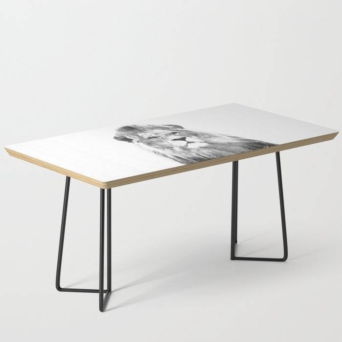 Black and white lion animal portrait Coffee Table