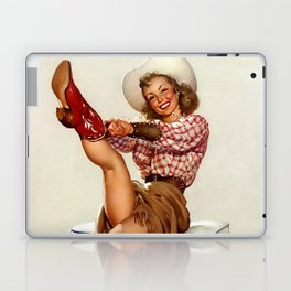Pin Up Girl Cowgirl Trying on Cowboy Boots Laptop & iPad Skin