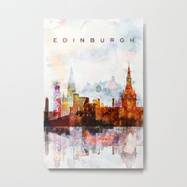 Edinburgh Watercolor Skyline Metal Print