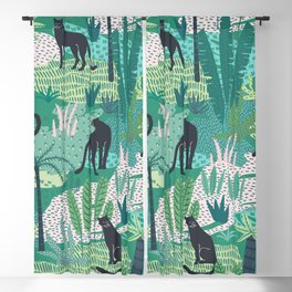 Panthers In Jungle Pattern Blackout Curtain