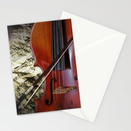 Cello with Bow a Stringed Instrument with Classical Sheet Music Stationery Cards