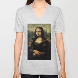 Mona Lisa on tiles Unisex V-Neck