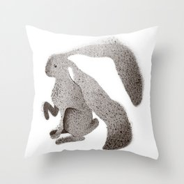 long eared hare Throw Pillow
