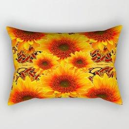 Golden Sunflowers on Sunflowers Floral Patterns Rectangular Pillow