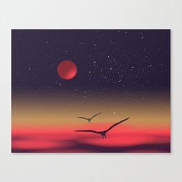 Red moon eagles Canvas Print