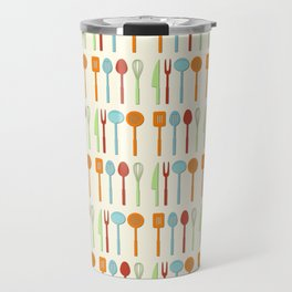Kitchen Utensil Colored Silhouettes on Cream Travel Mug