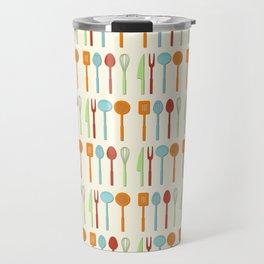 Kitchen Utensil Colored Silhouettes on Cream Travel Mug