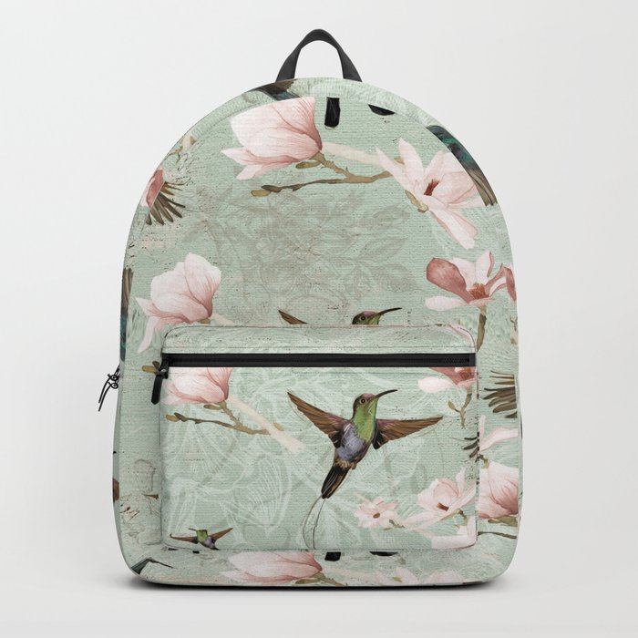 Vintage Watercolor hummingbird and Magnolia Flowers on mint Background Backpack
