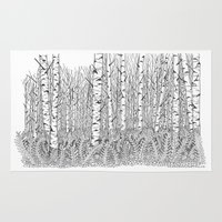 birch Area & Throw Rugs featuring Birch Trees Black and White Illustration by Vermont Greetings