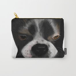 Boston Terrier Pup Looking Guilty but Cute Carry-All Pouch