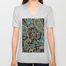 Brown Turquoise Paisley Floral Unisex V-Neck