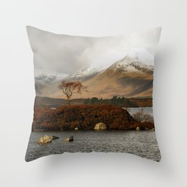 Lone Tree and Dusting of Snow in Mountains of Scotland Throw Pillow