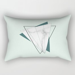 Abstract Geometric Triangle White Marble Mint Green Rectangular Pillow