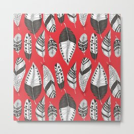 Black and white feathers pattern Metal Print