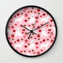 Bull Terrier white valentines day cupcakes hearts dog breed pet friendly dog gifts bull terriers Wall Clock