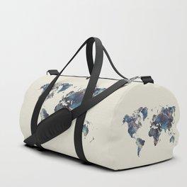 world map 124 blue  #worldmap #map Duffle Bag