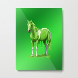 Lime Green Pinto Dripping Wet Paint Horse Metal Print