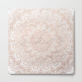 Mandala - rose gold and white marble 3 Metal Print