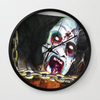 evil dead Wall Clocks featuring The Evil Dead  by Christopher Chouinard