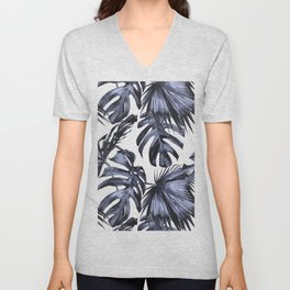 Classic Palm Leaves Navy Blue Unisex V-Neck