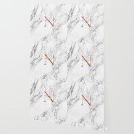 Monogram rose gold marble N Wallpaper