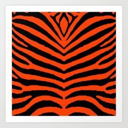 Orange Neon and Black Zebra Stripe Art Print
