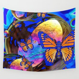 SURREAL BLUE  MONARCH BUTTERFLIES & IRIDESCENT BUBBLES  ART Wall Tapestry