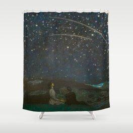 Shooting Stars, Summer Night by the Sea, Watch Hill, Rhode Island landscape by Franz Von Stuck Shower Curtain
