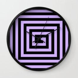Graphic Geometric Pattern Minimal 2 Tone Big Swirl Zig-Zag (Lavender Purple & Black) Wall Clock
