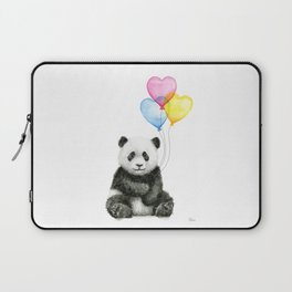 Panda Baby with Heart-Shaped Balloons Whimsical Animals Nursery Decor Laptop Sleeve