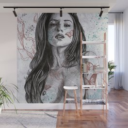 Nothing Violates This Nature (erotic drawing, nude butterfly girl) Wall Mural