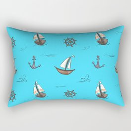 Happy Sailing Pattern with blue background Rectangular Pillow