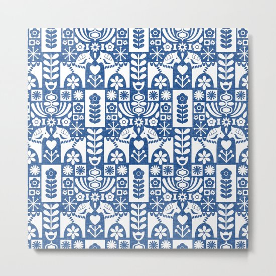 Swedish Folk Art - Blue Metal Print