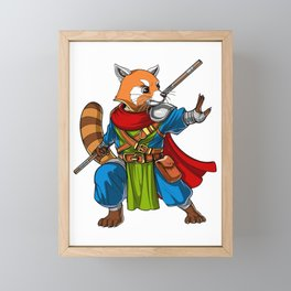Red Panda Bear Ninja Framed Mini Art Print