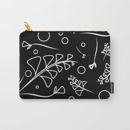 Botanical monochrome pattern from white plants and grass on a black background. Carry-All Pouch