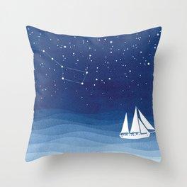 big dipper, sailboat Throw Pillow