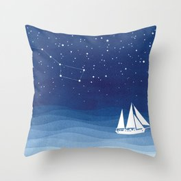 big dipper, sailboat Throw Pillow