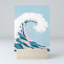 Surf X // Cali Beach Summer Surfing Rip Curl Gold Pink Aqua Abstract Ocean Wave Mini Art Print