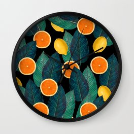 Lemons And Oranges On Black Wall Clock